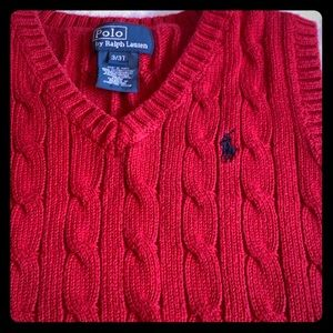 Gorgeous Red Polo Vest cable knit 3T